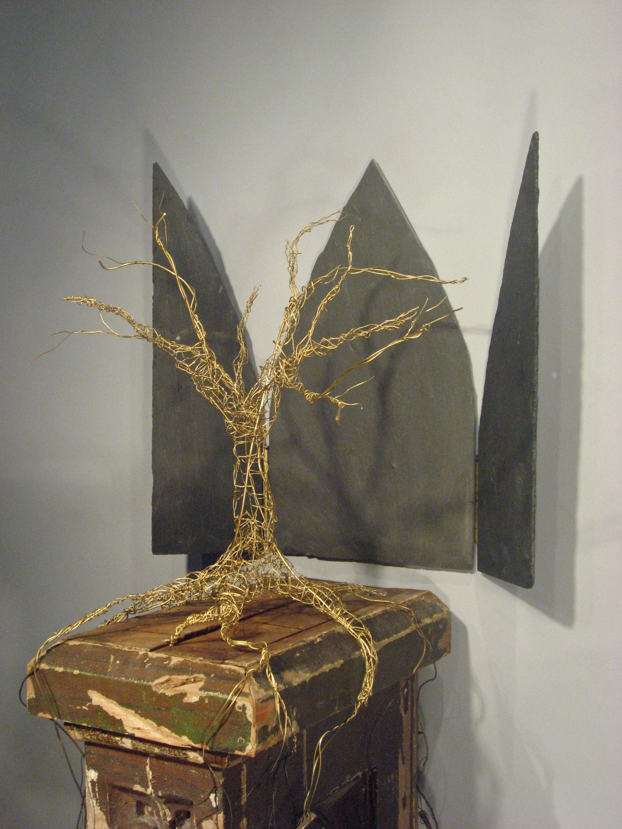 ALTER/ALTAR, slate & wire tree