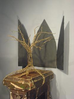 ALTER/ALTAR, slate & wire tree