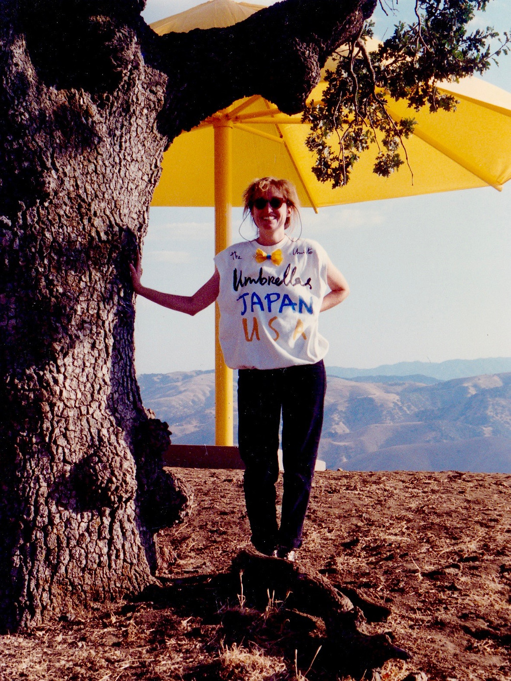 "Concurrently with the California umbrellas, Christo installed 1,340 blue umbrellas in Japan. Hence, the ""JAPAN, USA"" inscription on the t-shirt."