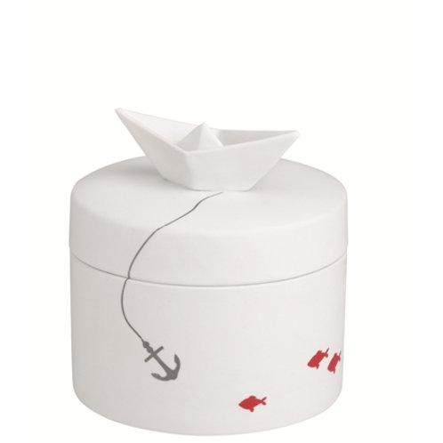 Boîte en céramique ancre marine et poissons rouges