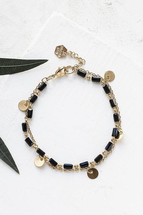 Bracelet double doré et perlé - 4 couleurs