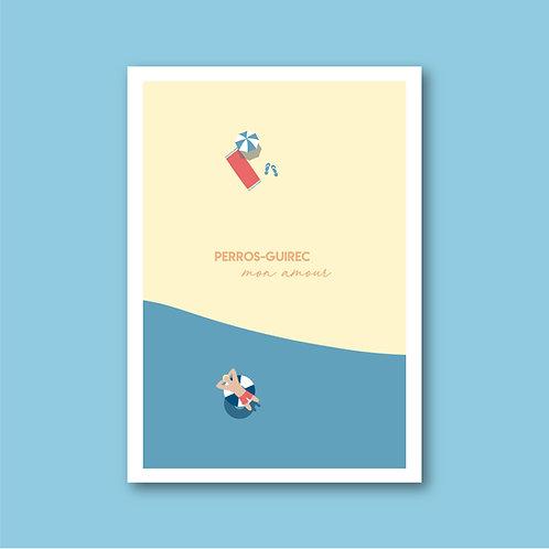 Affiche Perros-Guirec - sur la plage ...