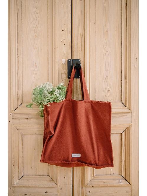 Grand sac en toile de coton rouille