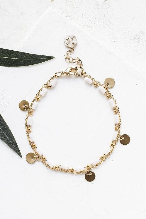 Bracelet double doré et perlé - blanc