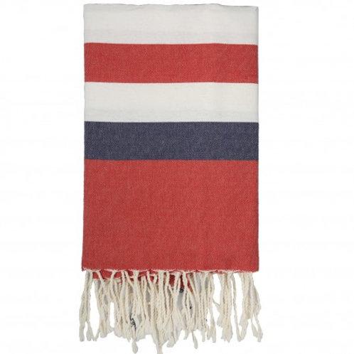 Fouta larges bandes tricolore rouge, marine et blanc