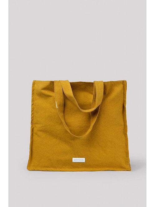 Grand sac cabas en toile de coton bio jaune safran