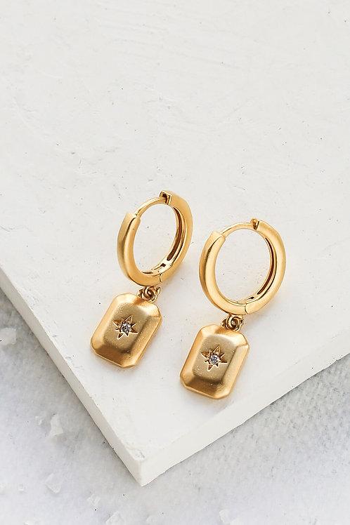 Boucles d'oreille pavé doré étoilé