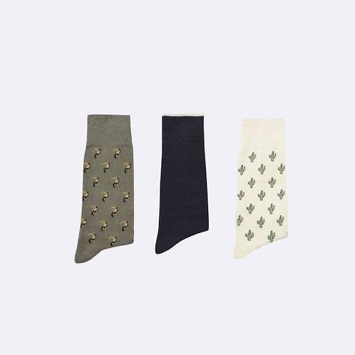 Pack 3 paires chaussettes cactus-toucans FAGUO