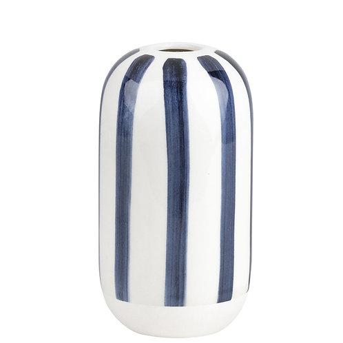 Petit vase rayé bleu encre