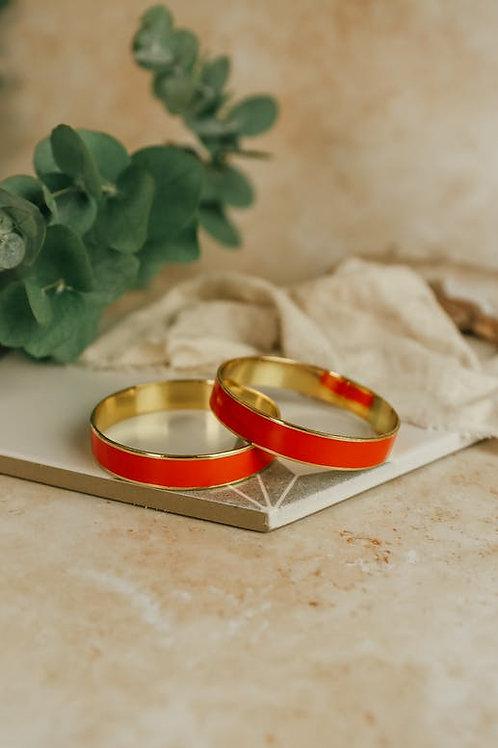 Bracelet rond laiton et émail rouge