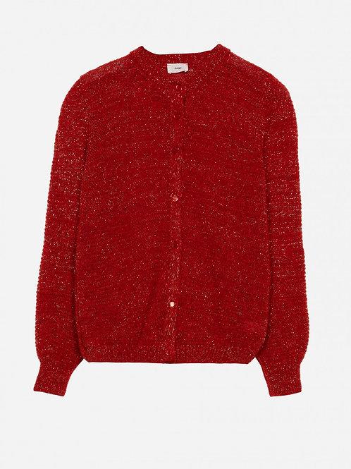 Gilet laine et lurex rouge