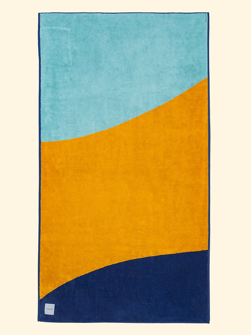 Serviette de plage bleue et jaune