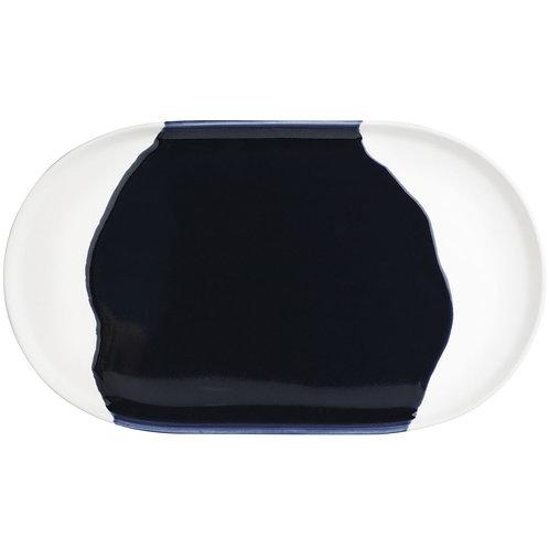 Plateau en céramique blanc et bleu encre