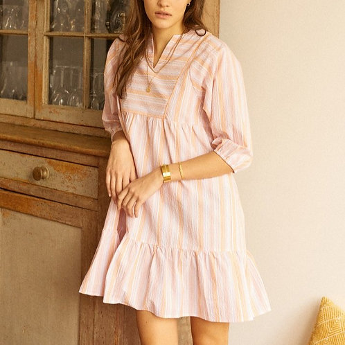 Robe courte à rayures pastel