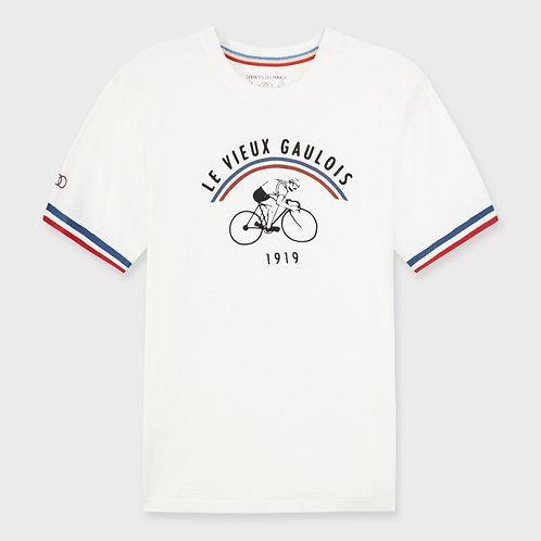 Tee-shirt Vieux Gaulois cycliste rétro blanc
