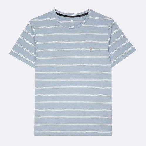 Tee-shirt FAGUO bleu ciel rayures blanches