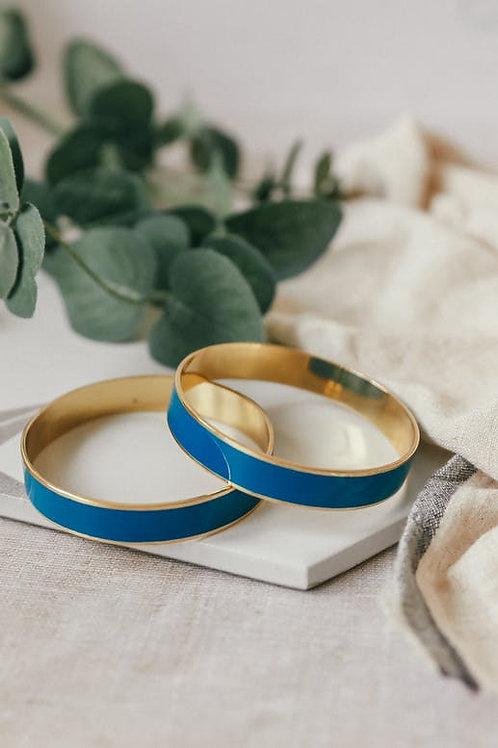 Bracelet rond laiton et émail bleu