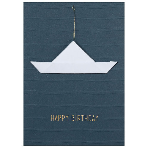 Carte double anniversaire - bateau origami