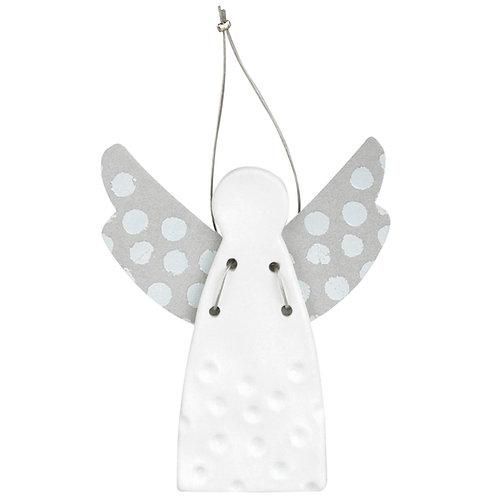Ange en porcelaine argenté - ailes pois