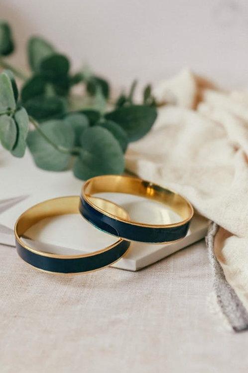 Bracelet rond laiton et émail marine