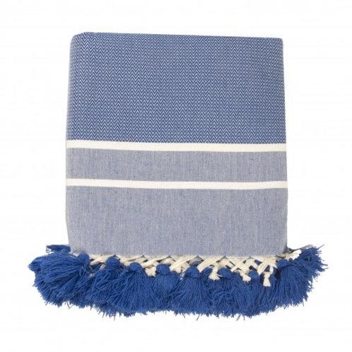 Plaid XXL FEBRONIE chevrons et pompons - bleu grec