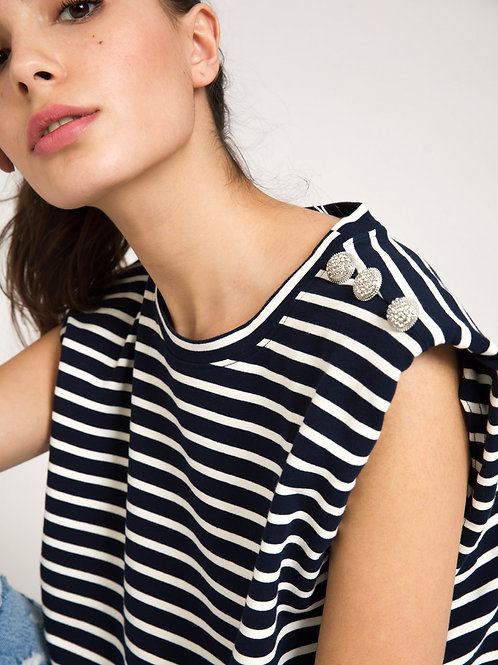 Tee-shirt femme marinière marine