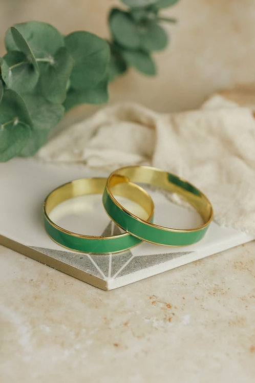 Bracelet rond laiton et émail vert