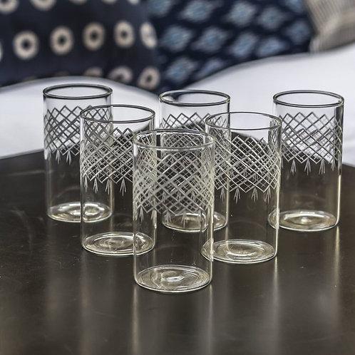 6 verres gravés losanges