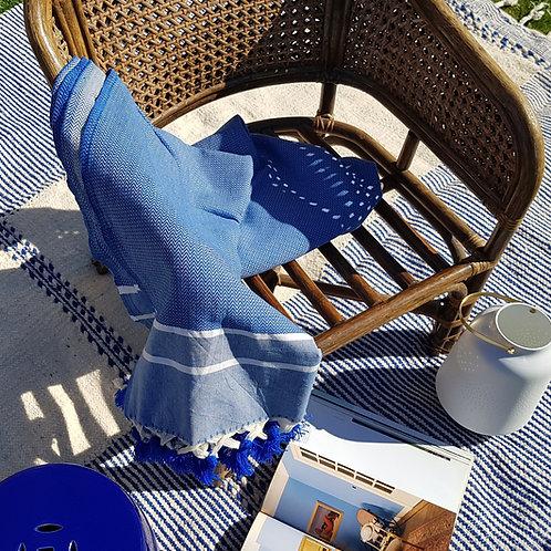 Tapis Zenafi écru et bleu grec