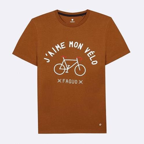 Tee-shirt FAGUO en coton cognac