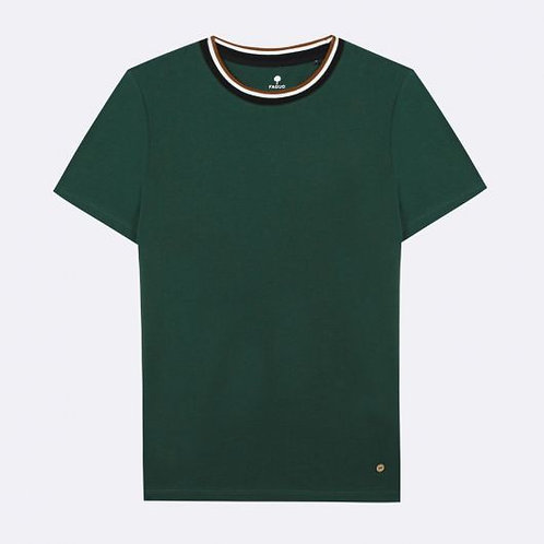 Tee-shirt FAGUO uni vert, col rond tricolore
