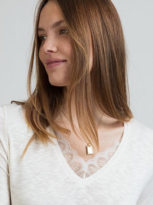 Tee-shirt manches longues - dentelle - 2 coloris