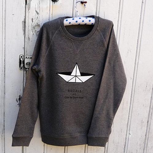 Sweat enfant Paperboat gris coton bio