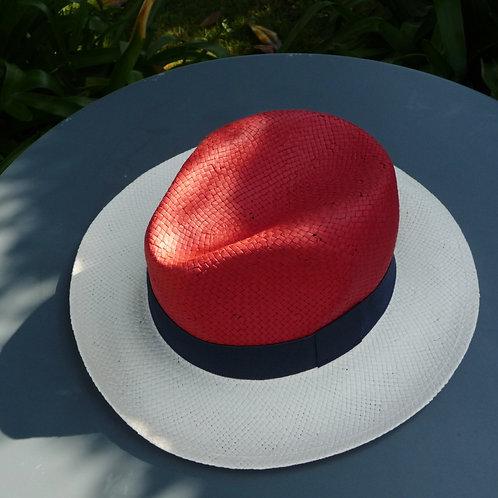 Panama tricolore rouge, écru et marine