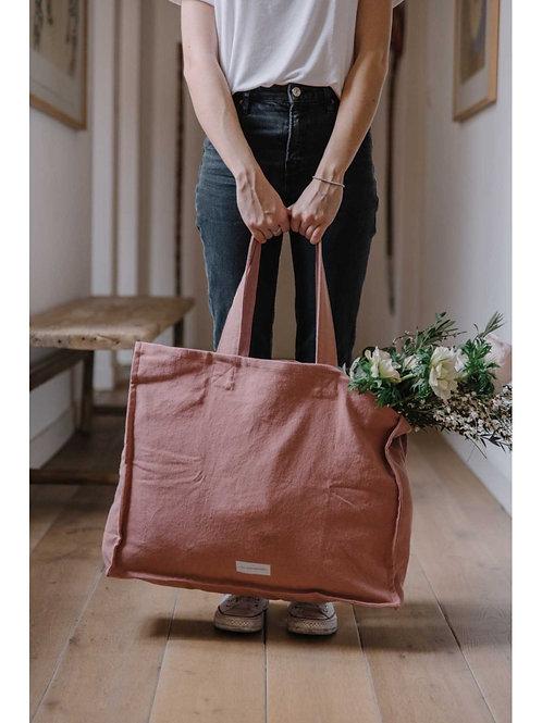 Grand sac cabas en toile de coton bio bois de rose