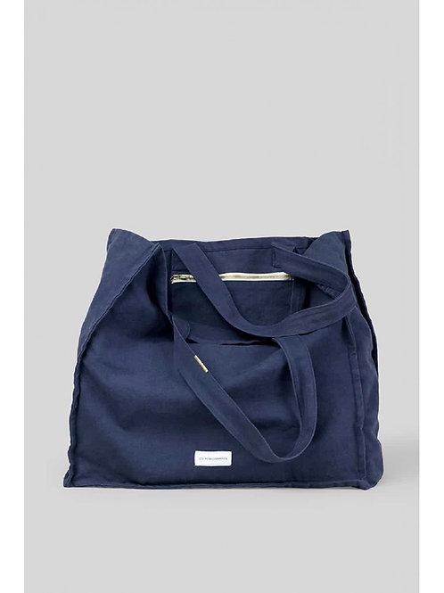 Grand sac cabas en toile de coton bio bleu orage