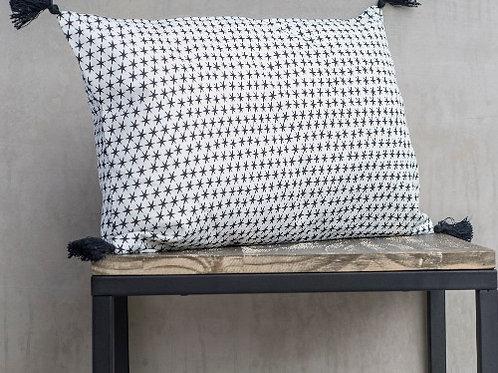 Housse de coussin Febronie étoiles - blanc & noir