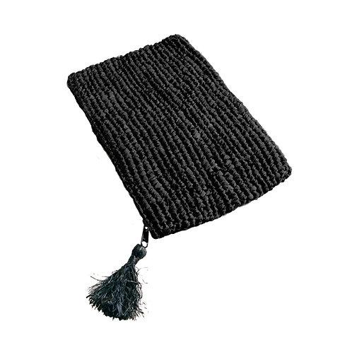 Pochette en raphia noir
