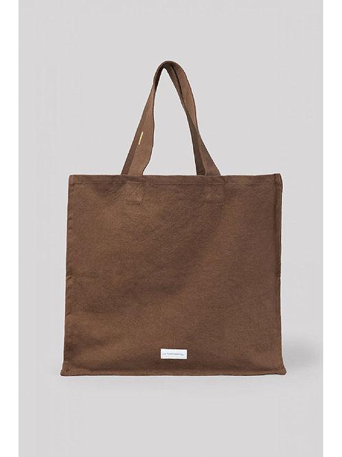 Grand sac cabas en toile de coton bio marron noisette