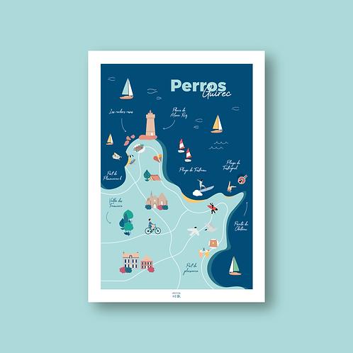 Affiche cartographie de Perros-Guirec