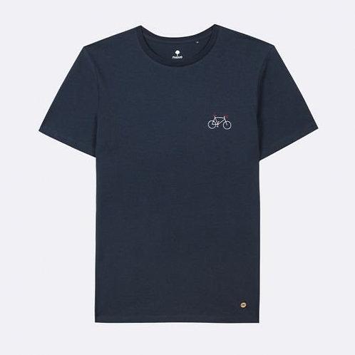 Tee-shirt FAGUO en coton marine broderie vélo