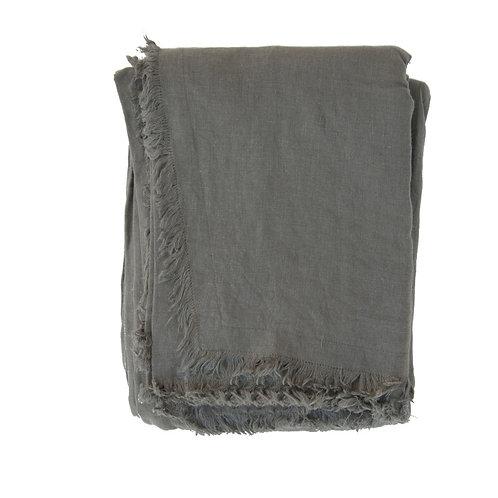 Nappe / plaid lin lavé kaki - 160x280