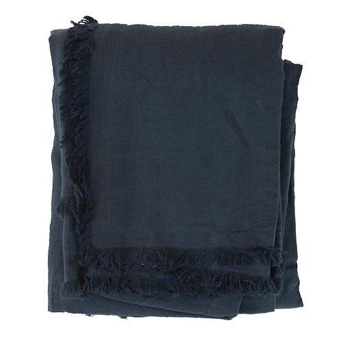 Nappe / plaid lin lavé bleu nuit - 160x280