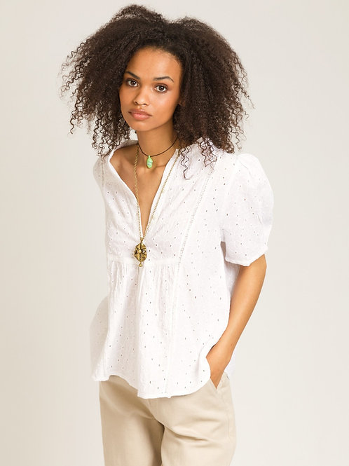 Blouse blanche broderie anglaise