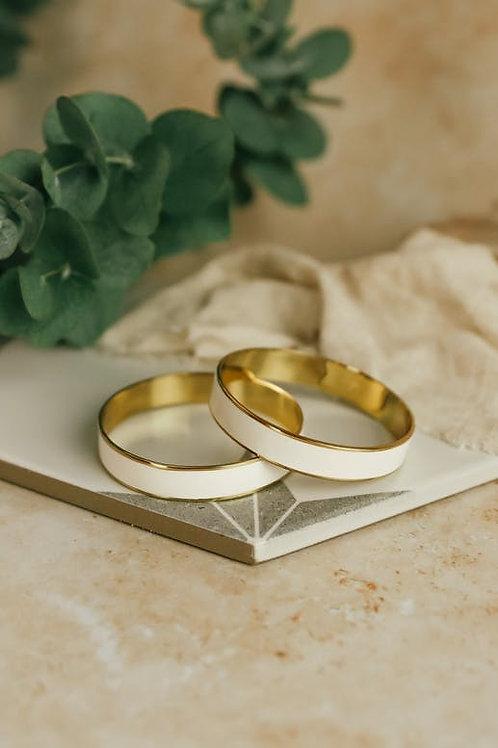 Bracelet rond en laiton et émail blanc