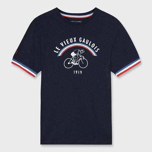 Tee-shirt Vieux Gaulois cycliste rétro marine