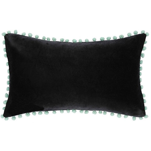 Housse de coussin 30x50 velours black washed et pompons céladon