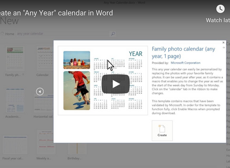 Office 365 Tip: Create an Any Year Calendar in Excel