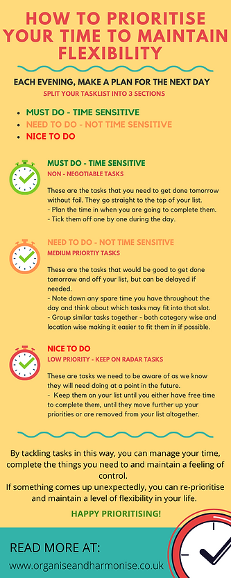 How To Prioritise Your Time To Remain Flexible | Infographic