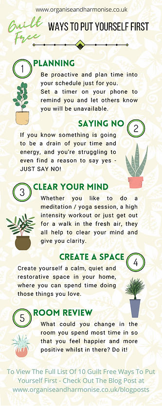 Top 10 Guilt Free Ways Of Putting Yourself First | Infographic